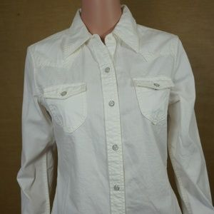 Gap Western Style Shirt Sz 8 Pearl Snap Buttons